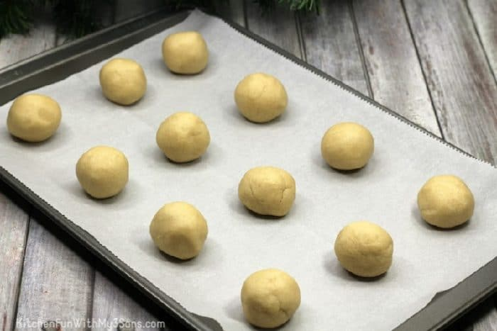 Christmas sugar cookies on baking sheet