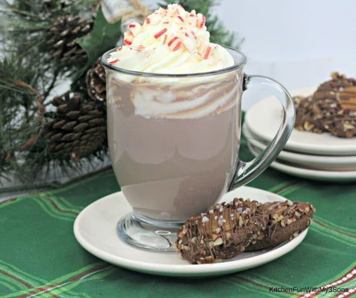 Glass mug of boozy peppermint mocha