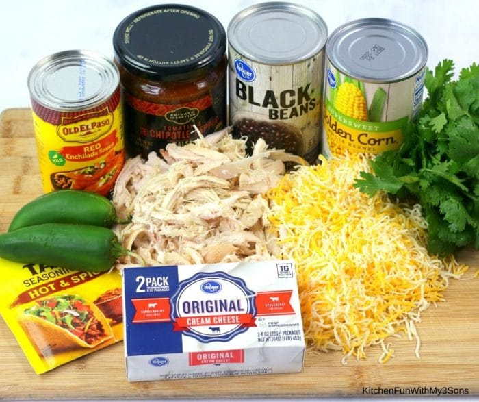 Ingredients for chicken enchilada dip