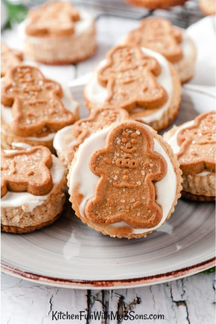 Plate of mini gingerbread cheesecake bites