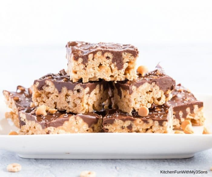 White bowl stacked with homemade cereal bars