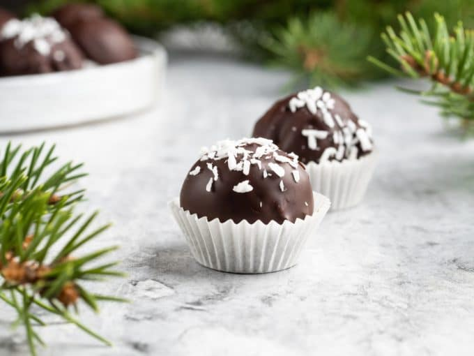 Chocolate Coconut Balls in mini Cupcake Liners
