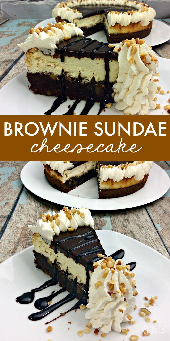 Brownie Sundae Cheesecake is a yummy dessert mashup with a layer of brownie and a layer of cheesecake. Top it off with chocolate ganache and homemade whipped cream. Cheesecake Recipes | Brownie Recipes | Dessert Recipes #food #yummy #food #recipe #cheesecake #brownies