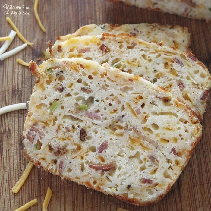 Jalapeno Cheddar Bread is a homemade bread recipe packed full of bacon, cheddar cheese, green onions and jalapeños.