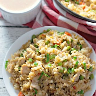 chicken fried rice with yum yum sauce