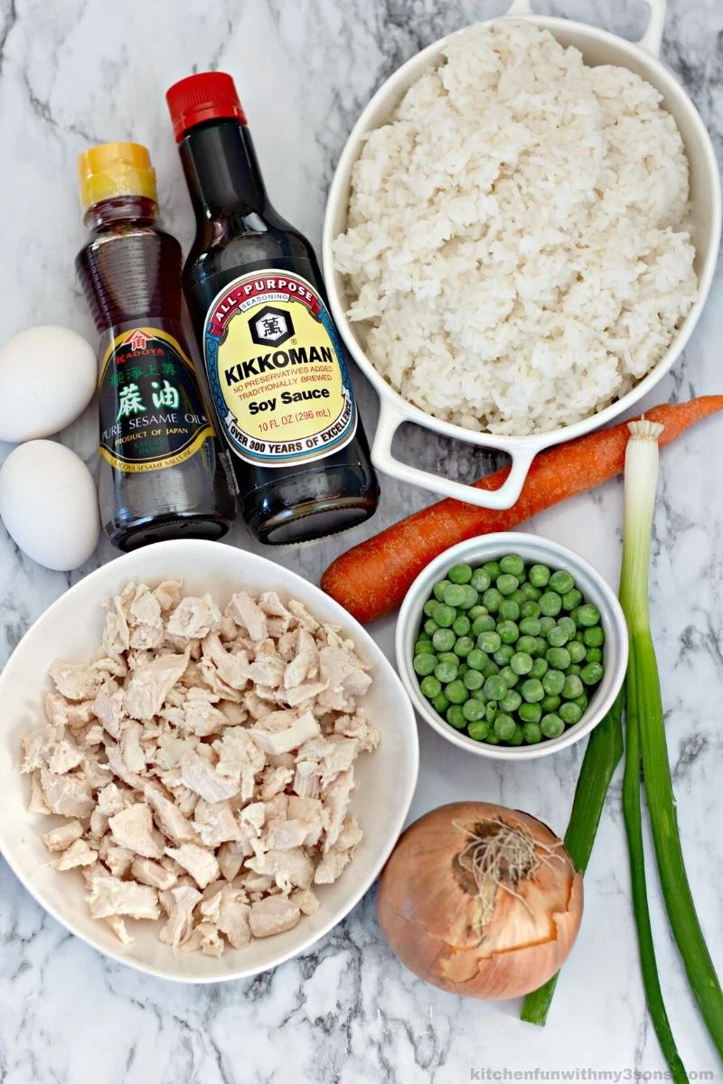 ingredients for chicken fried rice