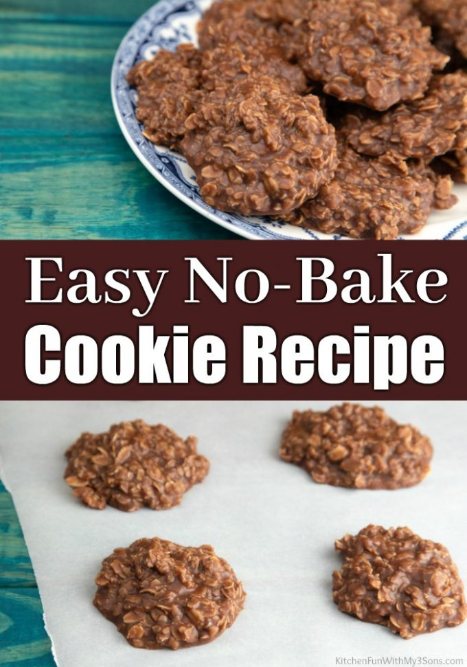 Easy No Bake Cookies with Chocolate, Peanut Butter and Oatmeal