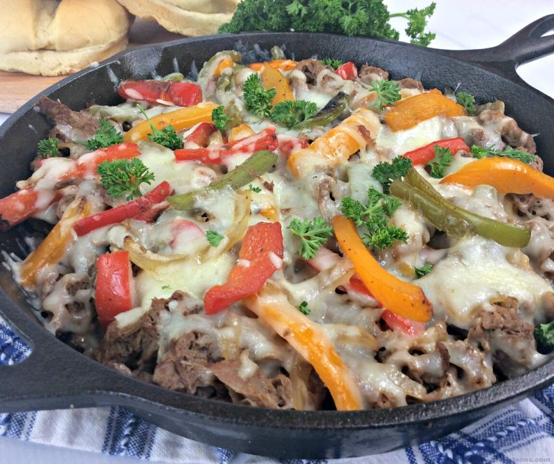 skillet philly cheesesteak casserole
