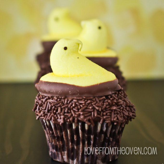 Chocolate Dipped Peeps Cupcakes