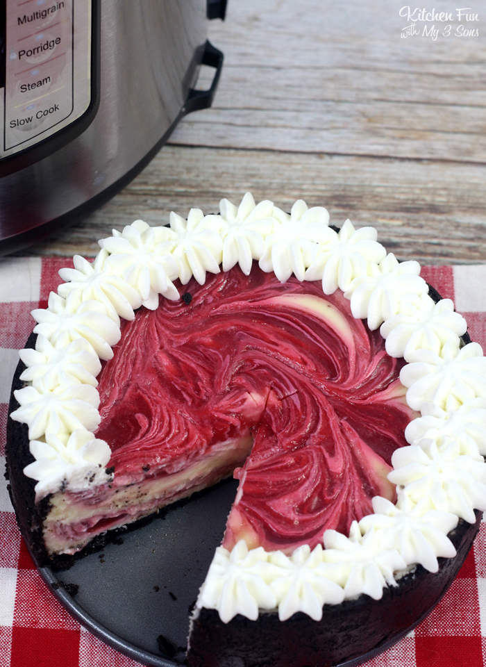 Cheesecake is great to freeze. This strawberries and cream cheesecake is no exception. Once the cheesecake is ready to cut, you can slice the cheesecake and then add pieces of parchment paper in between each slice. Then wrap the cheesecake well and store it in the freeze. it will last for up to 3 months in the freezer as long as it is wrapped well to prevent freezer burn.