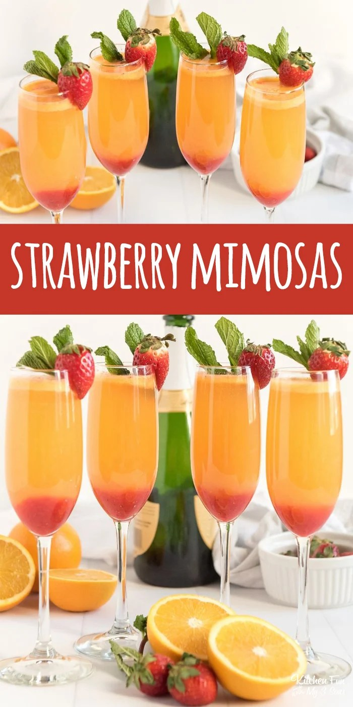 Strawberry Mimosas with real pureed strawberries. Perfect for brunch.   Mimosa Bar
