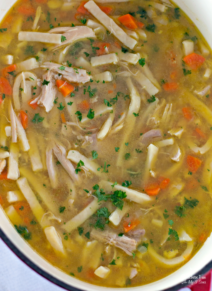 Best Homemade Chicken Noodle Soup recipe with homestyle egg noodles, fresh celery, carrots, onion, parsley and so much delicious flavor.