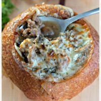 Philly Cheesesteak Soup in a Bread Bowl