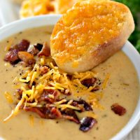 Beer Cheese Soup with Garlic Cheese Toast