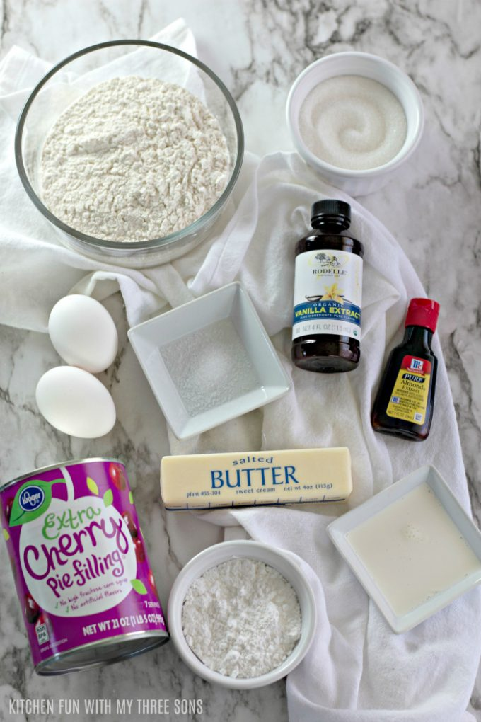 ingredients to make Easy Cherry Pie Bars