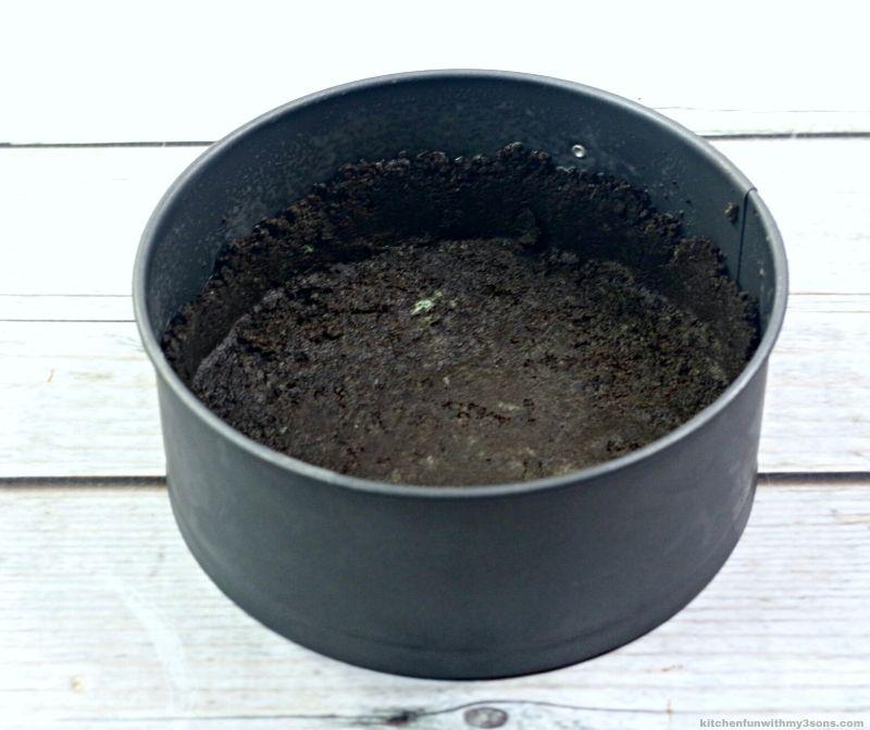 chocolate crust in a springform pan