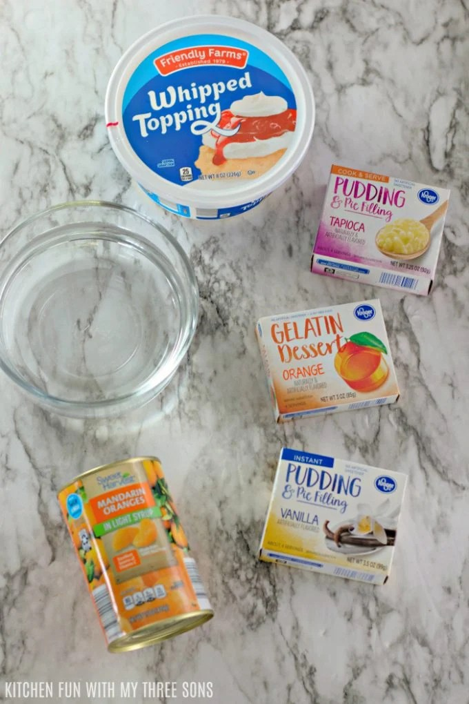 Ingredients to make Easy Jello Creamsicle Salad