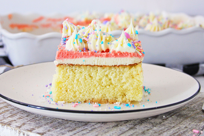This Homemade Yellow Cake is the easiest recipe and tastes way better than the box mix. It's incredibly moist and full of flavor.
