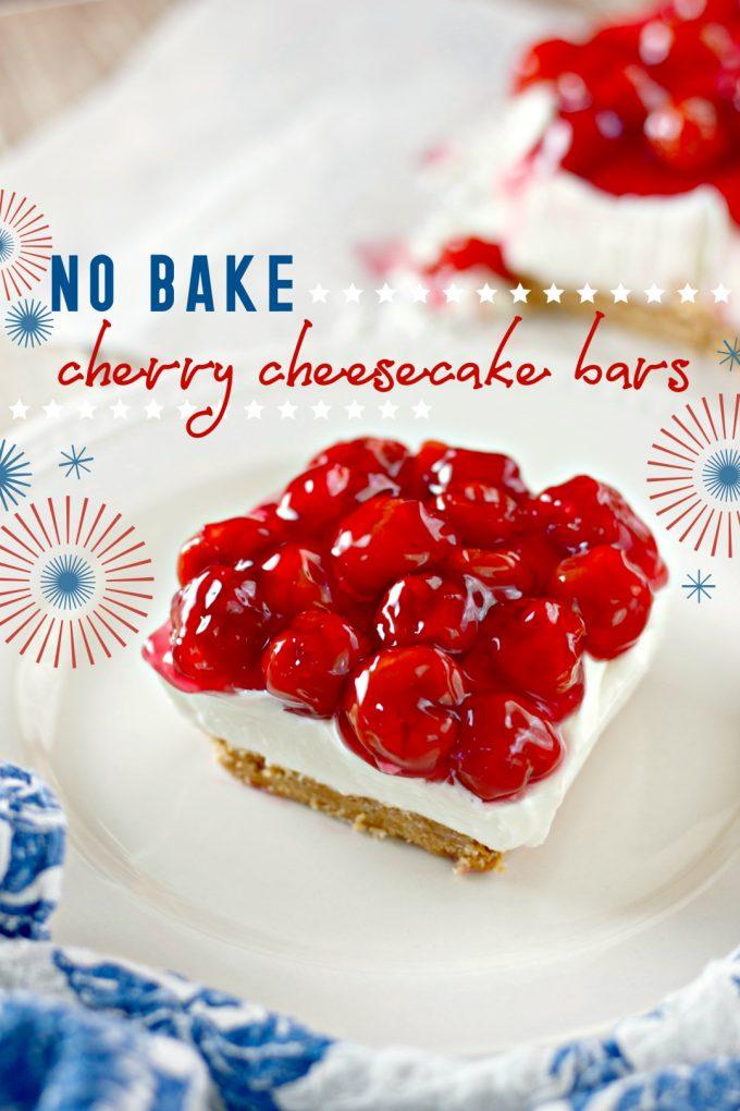 No Bake Cherry Cheesecake Bars on Pinterest