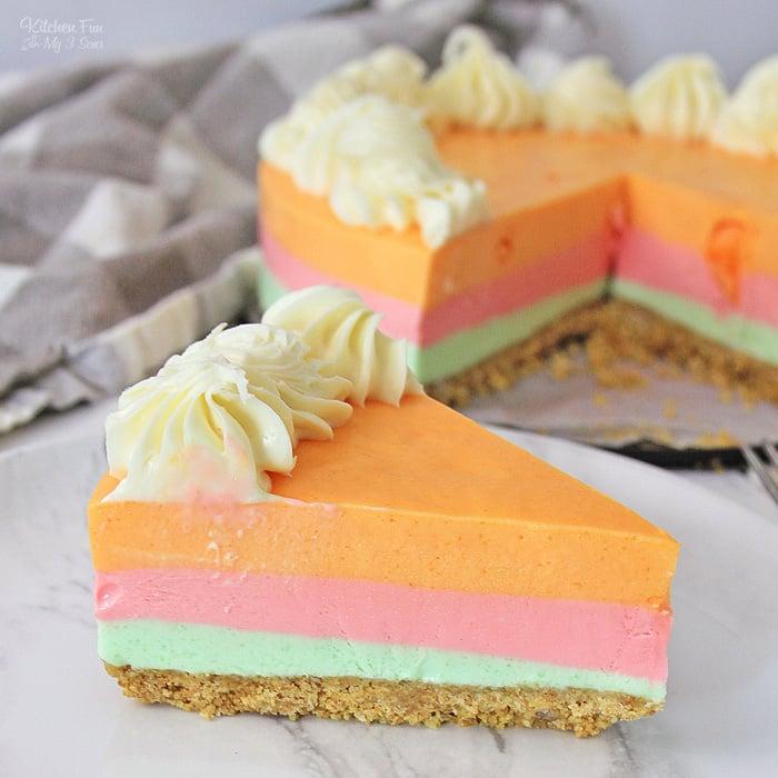 Rainbow Sherbet Cheesecake