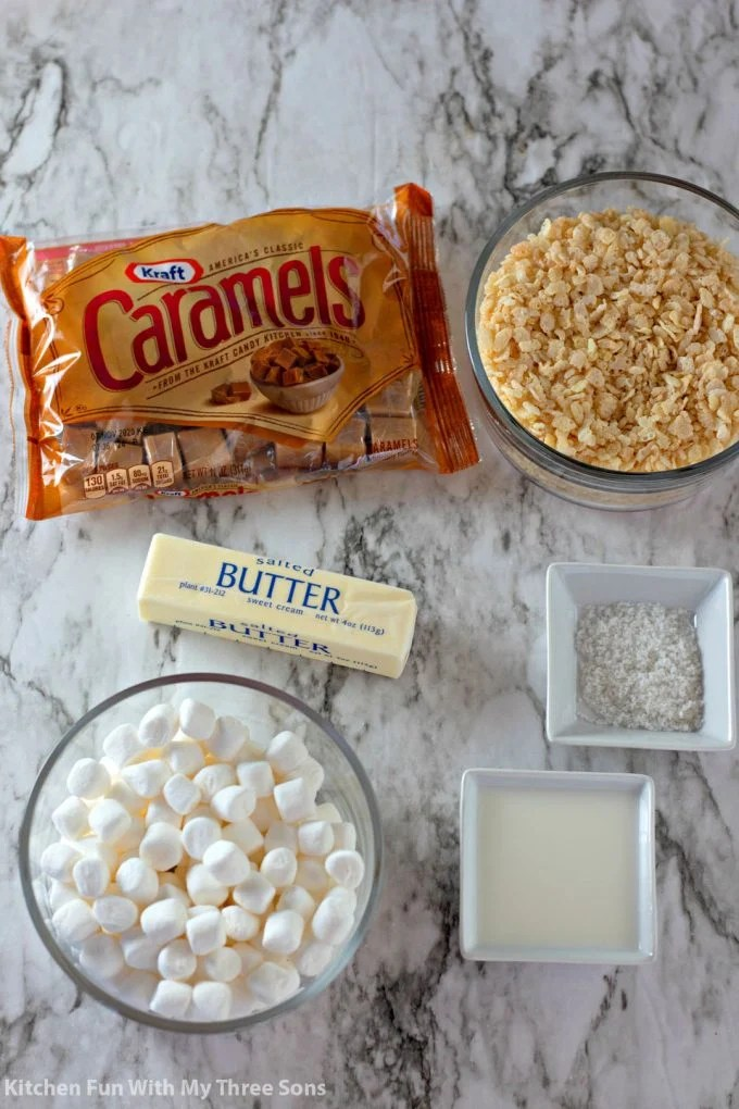 ingredients to make Salted Caramel Rice Krispies Treats