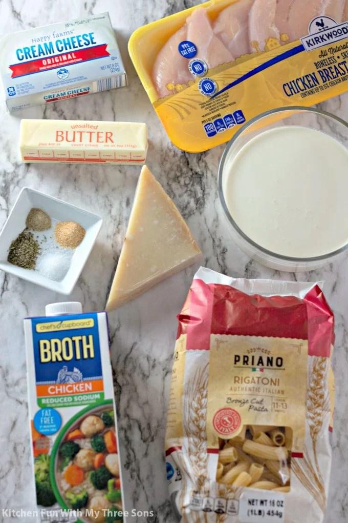 ingredients to make Slow Cooker Rigatoni Chicken Alfredo