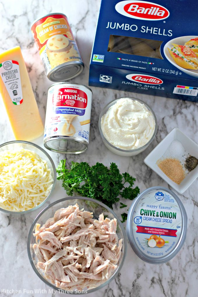 ingredients to make Cheesy Chicken Stuffed Shells