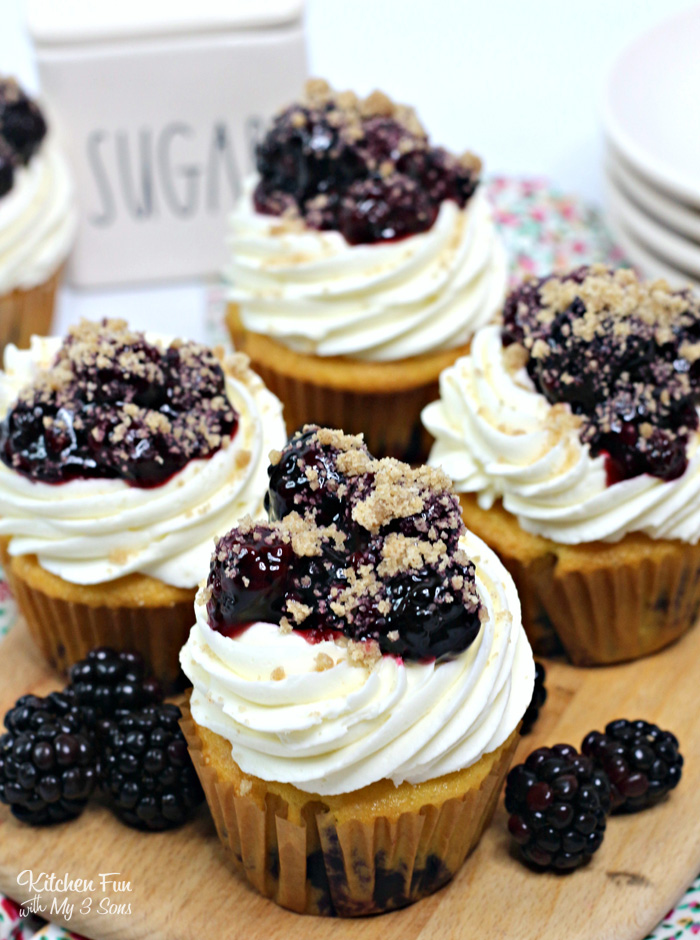 These Lemon Blackberry Cupcakes are a tasty dessert with the zesty flavor of lemon paired with the sweetness of a creamy icing and blackberries on top.