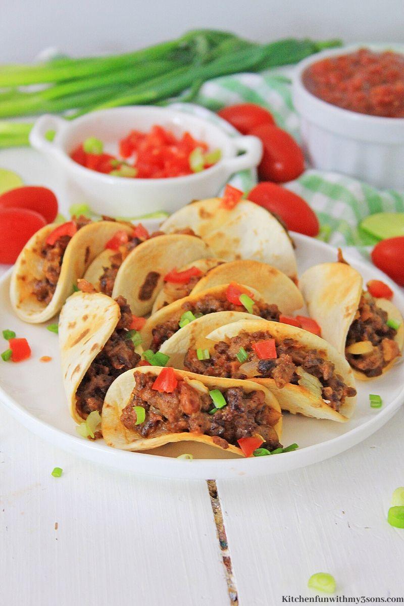 mini tacos on a plate