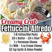 Creamy Crab Fettuccine Alfredo
