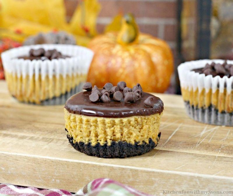 Mini Chocolate Pumpkin Cheesecake