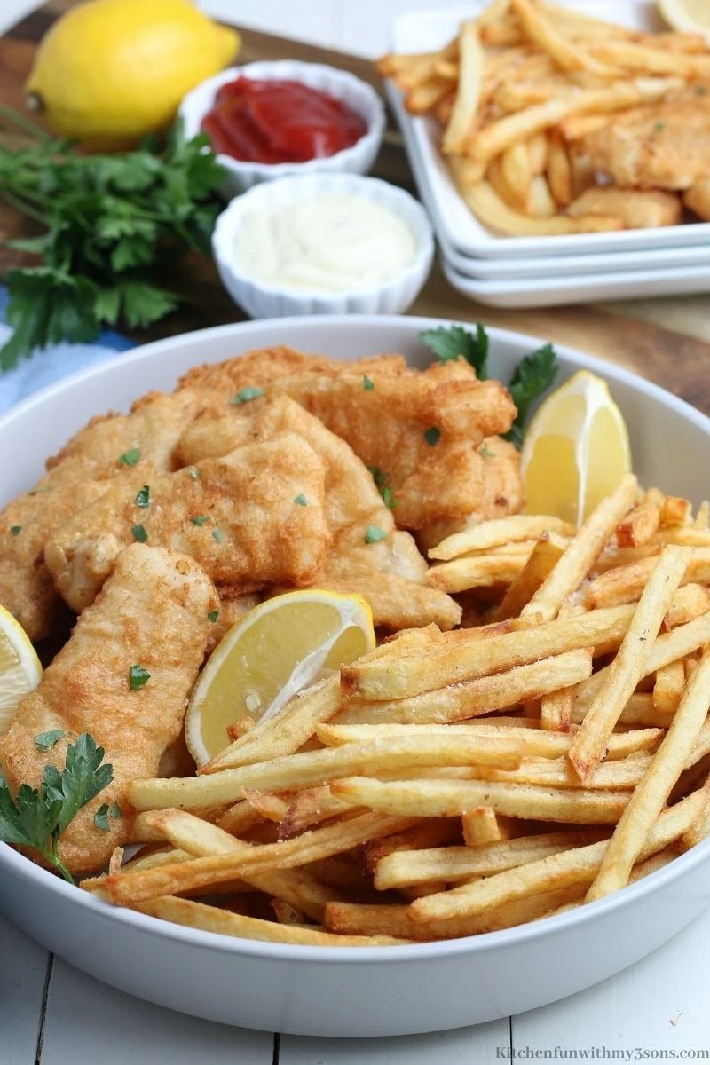 The Classic Fish and Chips Recipe in a serving bowl.