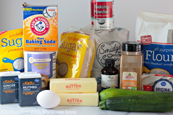 ingredients to make Zucchini Cookies with Cream Cheese Frosting