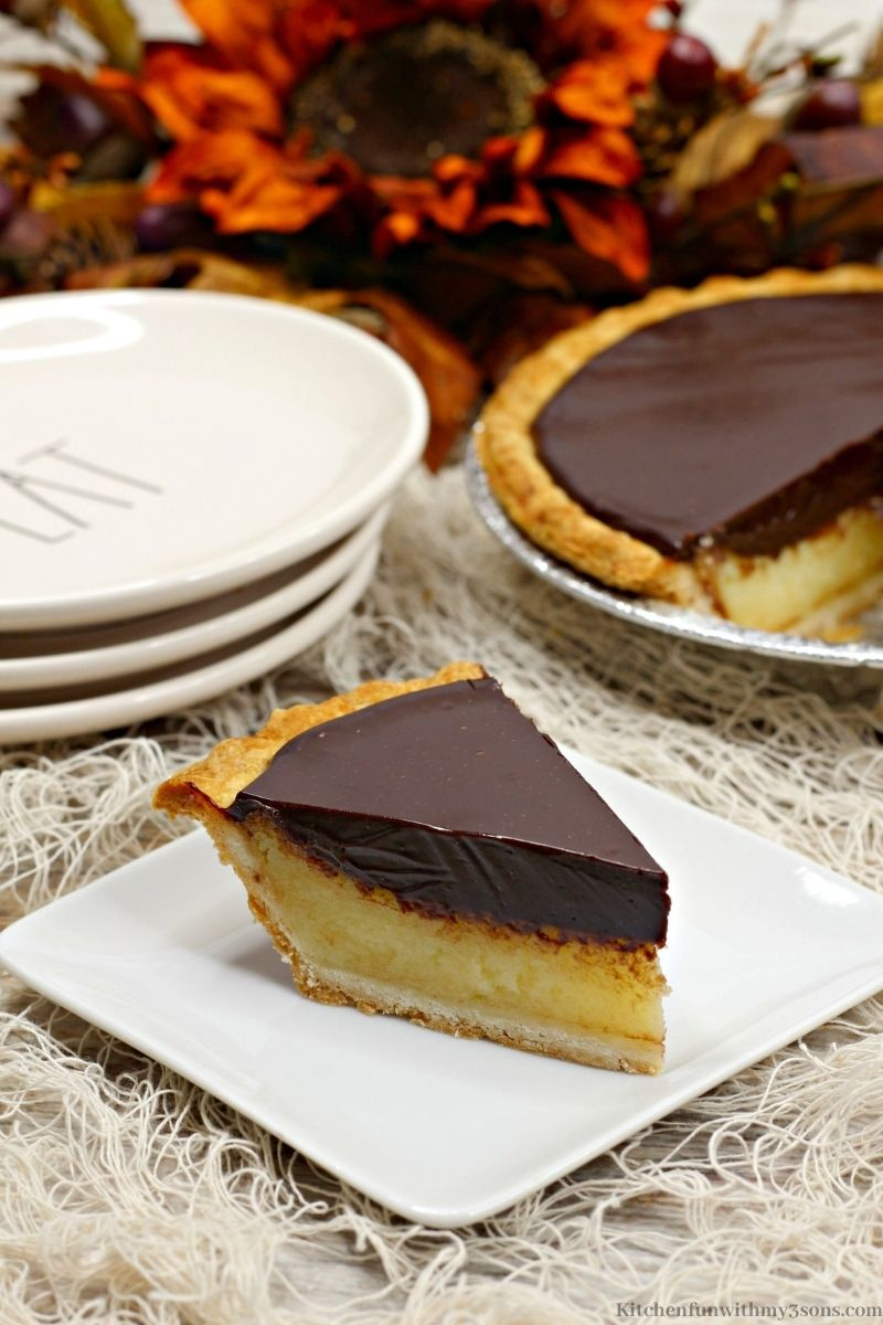 Chocolate Buttermilk Pie on a serving plate.