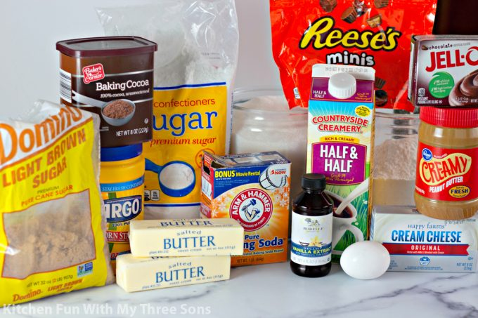 ingredients to make Chocolate Peanut Butter Cup Sandwich Cookies
