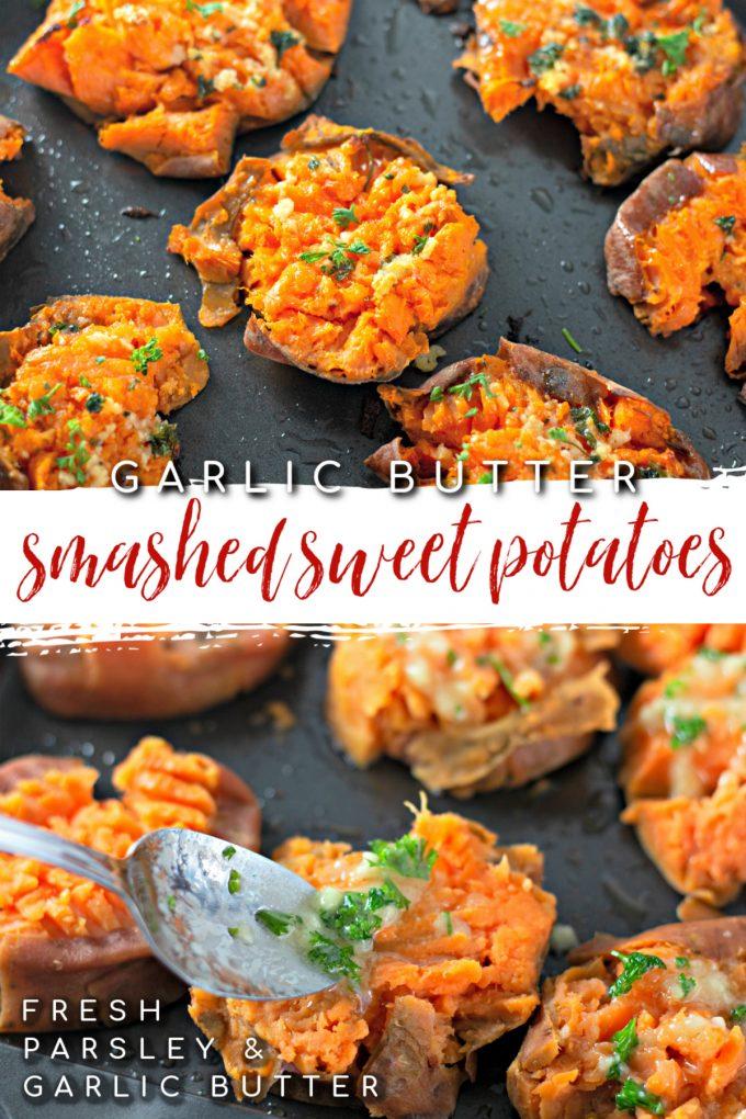Garlic Butter Smashed Sweet Potatoes on Pinterest