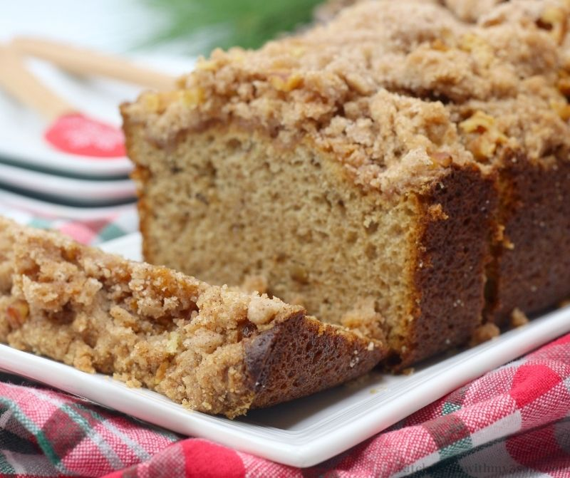 Coffee Cake Banana Bread sliced in pieces, ready to serve.