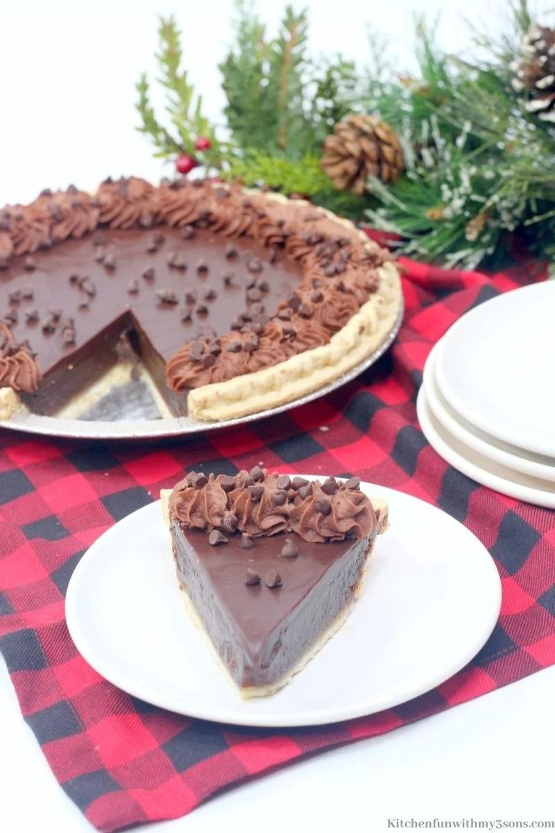 Decadent Chocolate Buttermilk Pie Recipe on a serving plate.
