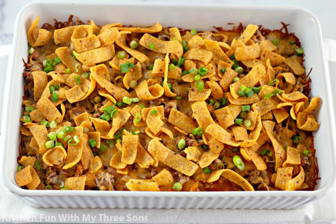 Finished Easy Fritos Pie Recipe sprinkled with green onions