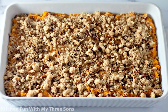sweet potato casserole topped with pecan crumble