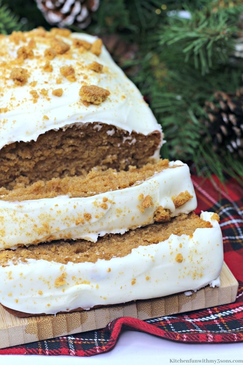 The Best Gingerbread Loaf sliced into pieces.