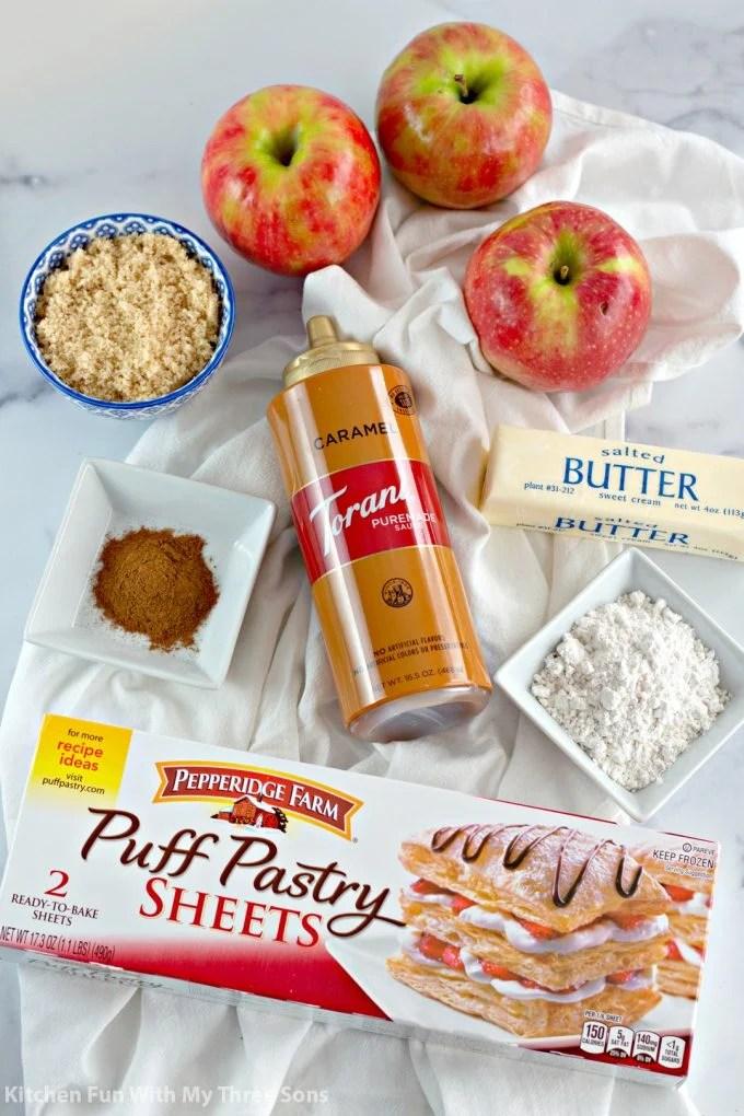 ingredients to make Caramel Apple Rose Tarts