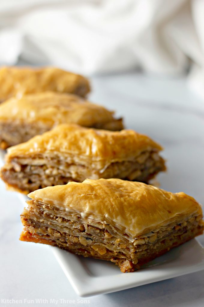triangles of Classic Baklava Recipe on a white plate