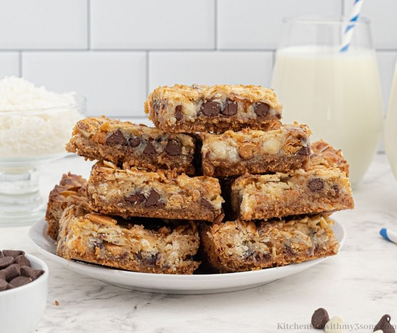 7 Layer Bars on a serving platter.