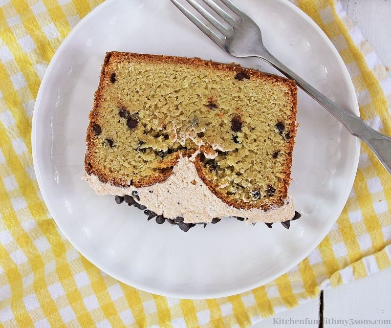 Cappuccino Chocolate Chip Bread on a serving plate.
