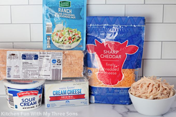 ingredients to make Crack Chicken Bacon Dip