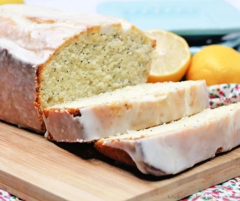 Lemon Poppy Seed Bread on a flowered cloth.