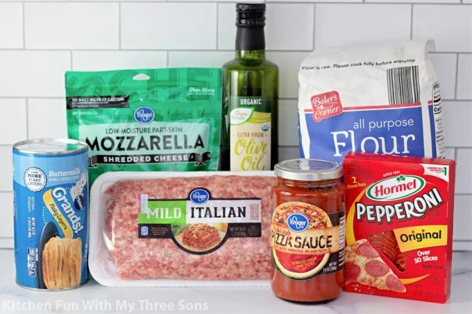 ingredients to make Easy Air Fryer Pizzas.