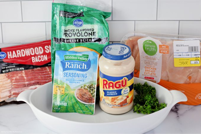 ingredients to make Cheesy Smothered Chicken with Bacon.
