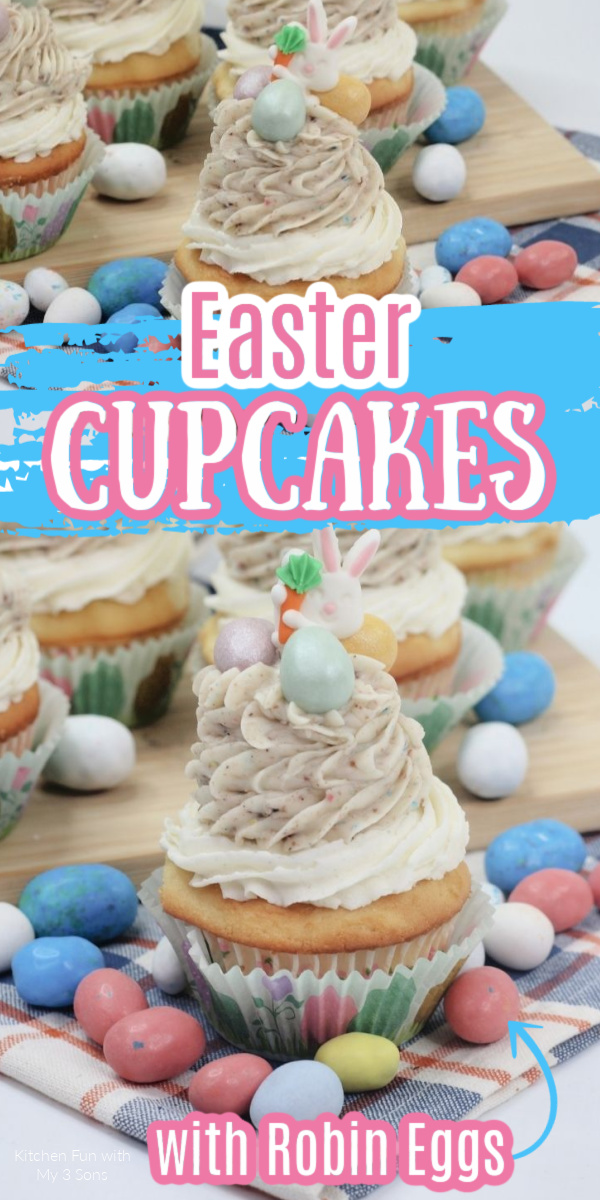 Easy Easter Cupcakes topped with candy Robin Eggs